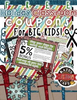 Celebrate the season and student success with these incentive coupons for the upper grades.  Intended for students in middle and high school.  Use these for game prizes or holiday gifts for your class.  Happy holidays from my classroom to yours!   If you like these coupons, please FOLLOW my store and leave me some feedback!