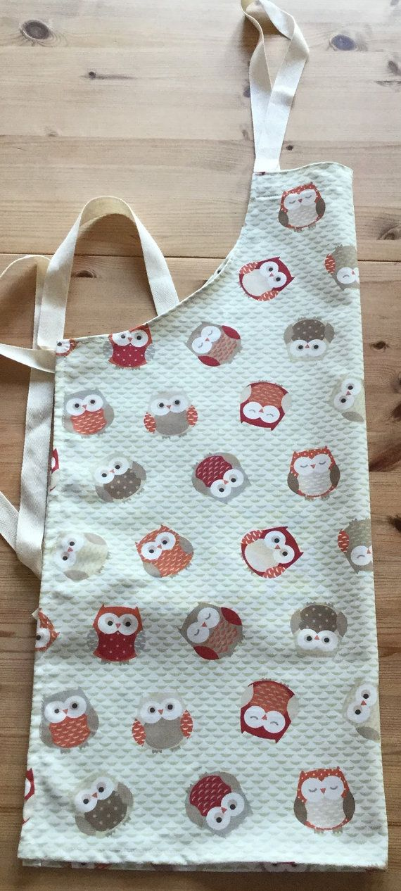 Apron in cute owl print - ready to ship!