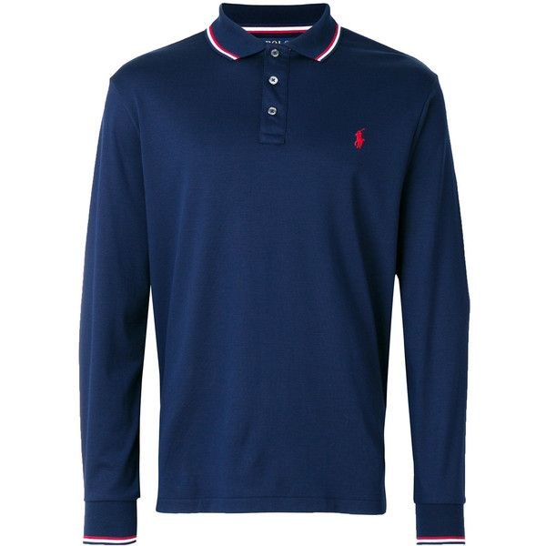 Polo Ralph Lauren stripe tipped polo shirt (3 465 UAH) via Polyvore featuring men's fashion, men's clothing, men's shirts, men's polos, blue, mens slim fit polo shirts, mens sport shirts, mens long sleeve polo shirts, mens blue shirt и polo ralph lauren mens shirts