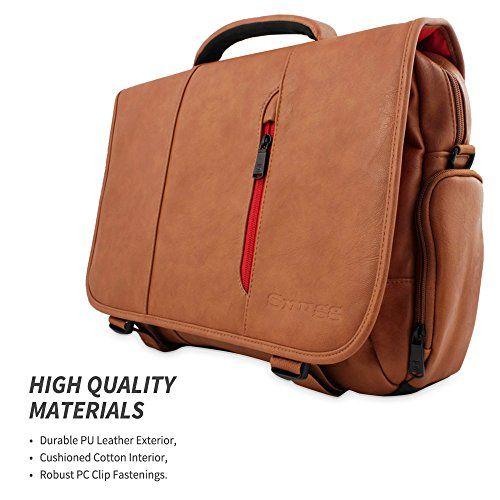 "Snugg Crossbody Shoulder Messenger Bag in Brown Leather - Fits Laptops up to 15.6"""