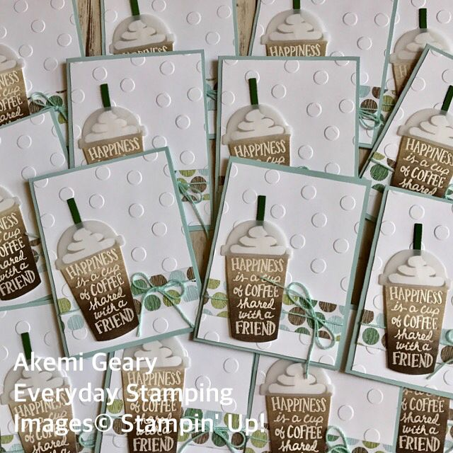 """Gefällt 22 Mal, 1 Kommentare - Akemi Geary (@everyday.stamping) auf Instagram: """"I love the heat embossing and sponging technique on the coffee cup. This stamp set is my new…"""""""