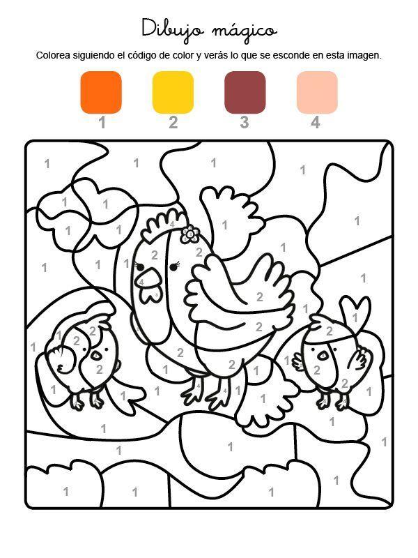 Dibujo Magico De Una Gallina Dibujo Para Colorear E Imprimir