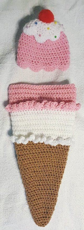 Free: Crochet Sweet Ice Cream Cone Newborn Baby Cocoon & Hat - Baby Clothes…