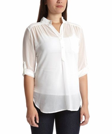 Loving this Ivory Button-Front Top on #zulily! #zulilyfinds