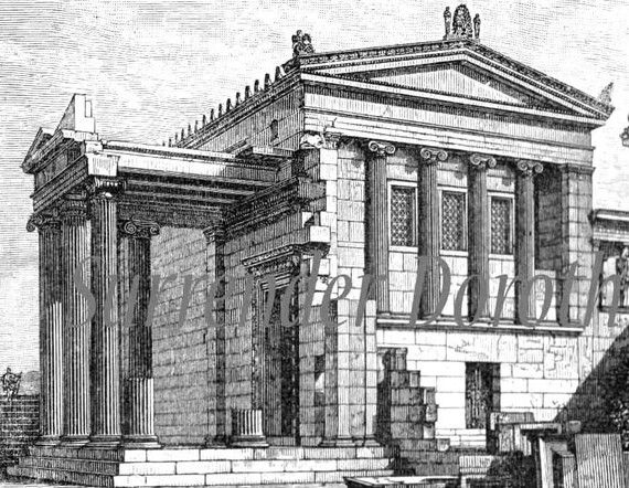 Ancient Greek Architecture 1906 Edwardian Vintage Print Steel Engraving To Frame It's All Greek To Me