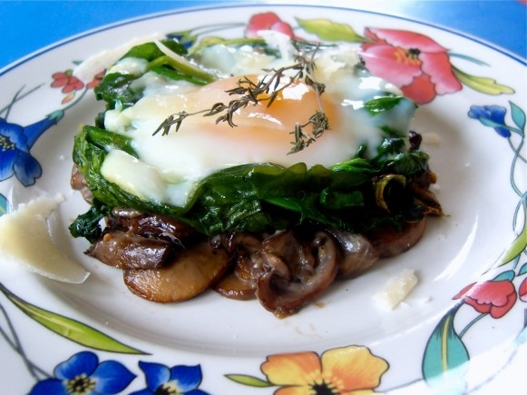 Eggs, spinach, and mushrooms. Sounds like an amazing ...