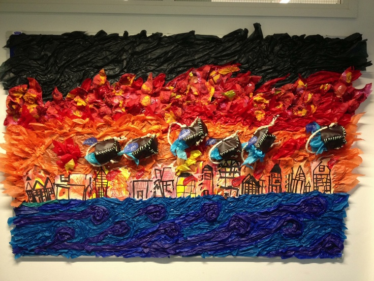 'Great Fire of London׳ wall mural 2mx1.6m made by kids at year 4 at school art class ! Super cool!