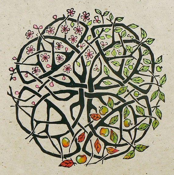 Apple Tree Celtic Knot Lino cut drucken von StripedPebble auf Etsy