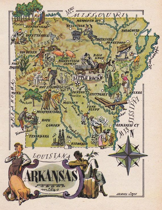 old map of Arkansas, a pictorial map by Jacques Liozu, 1946, this is a good source for high quality printable vintage maps and illustrations #oldmapofarkansas #vintagemaps #pictorialmaps