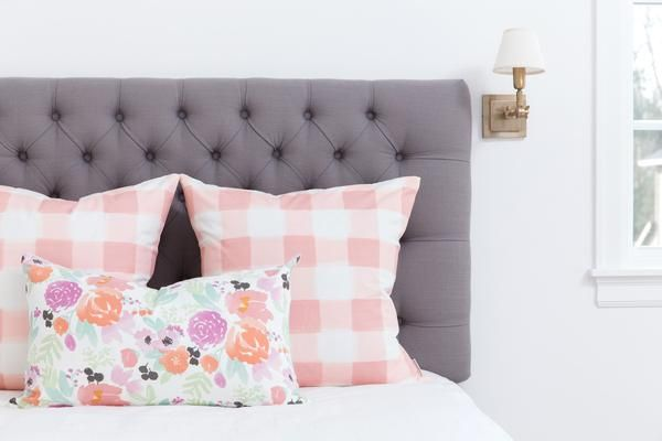 The perfect throw pillows! Petite pastel blooms pillow on white from Caitlin Wilson Design