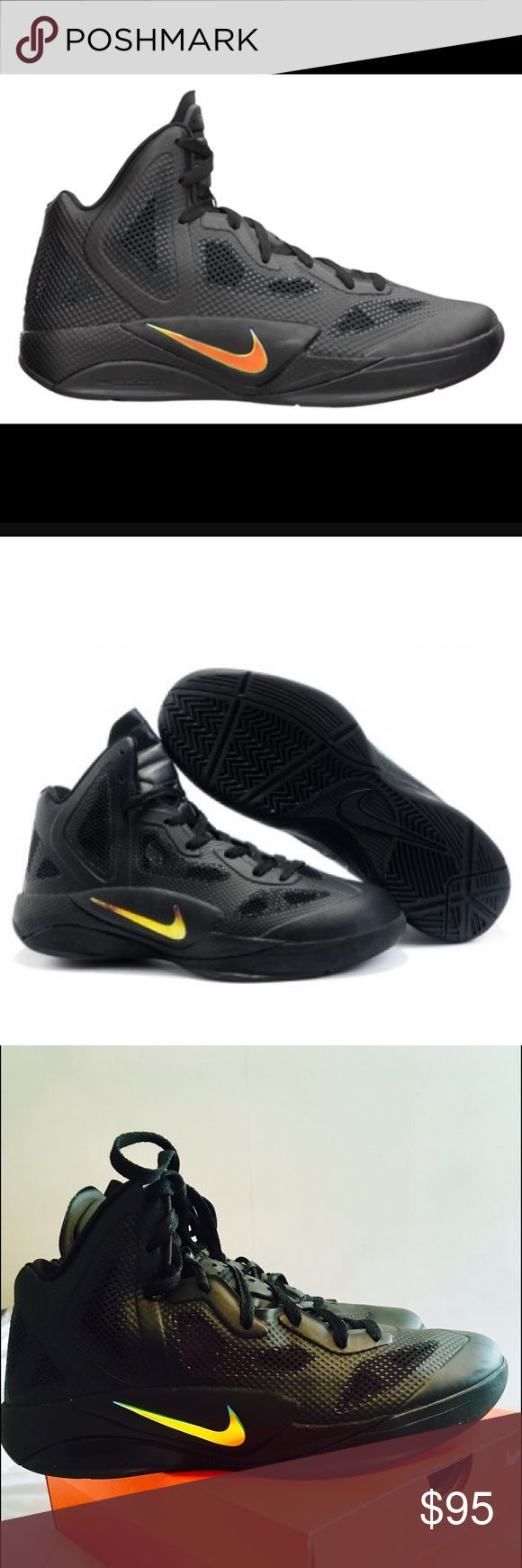 Nike Air Max Zoom Nike Zoom Hyperfuse all black Basketball Shoe. These shoes are in amazing condition! They were worn for one basketball game on indoor court only. They are completely black inside and out and feature an iridescent swoosh on the outside of both shoes. Because these are a special edition shoe, they do not have any inner tags showing size. They are a men's size 10 or 10.5.  Amazing condition like new! I'm taking offers! Thanks for looking 😎 Nike Shoes Sneakers