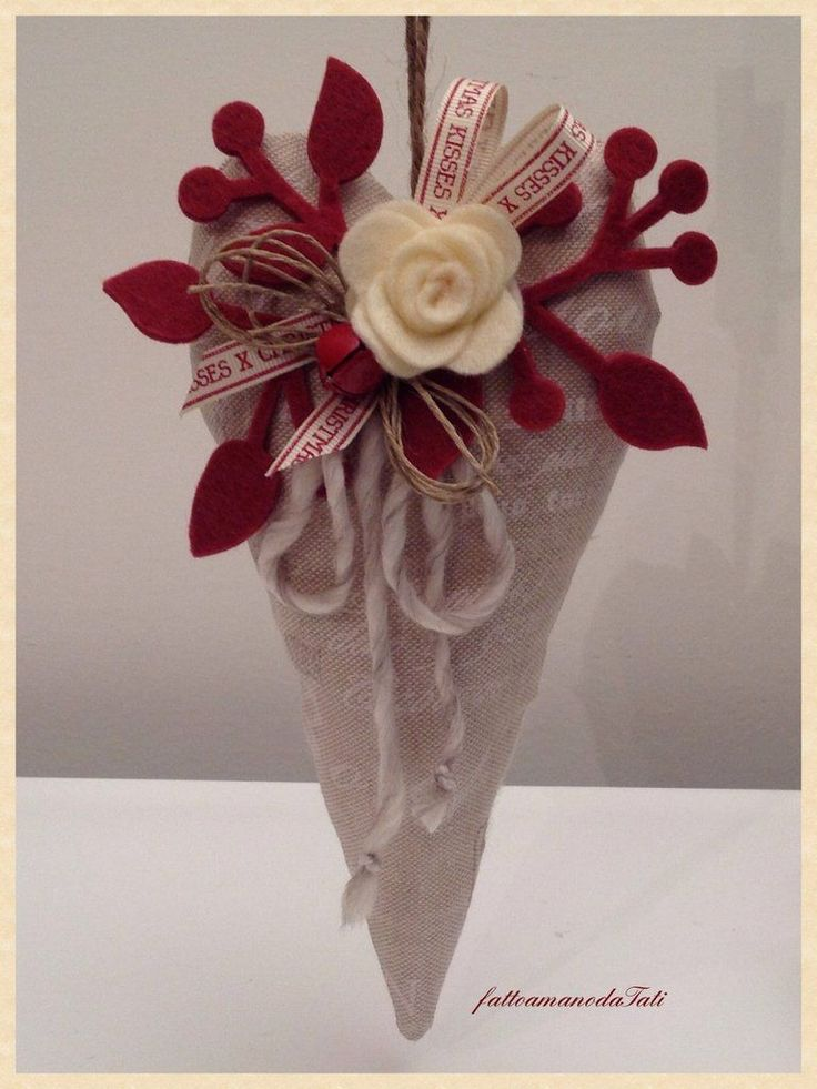 Cuore decorato  in cotone naturale con scritte, by fattoamanodaTati, 15,00 € su misshobby.com