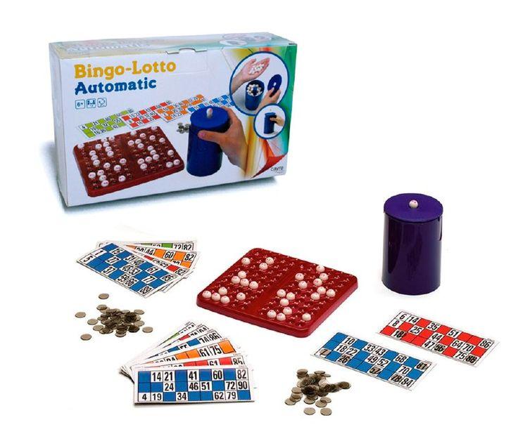 Entretenida forma de jugar Bingo - Lotto para niños desde los 6 años y más de 2 jugadores.  Incluye tablero, fichas para  marcar números, cartones  de colores y  un cilindro  expendedor de bolitas,  al presionar este hacia abajo, estas  se disparan  y saldrá la bolita ganadora.