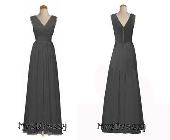 Charcoal grey v neck long bridesmaid dress dark grey for Dark grey wedding dresses