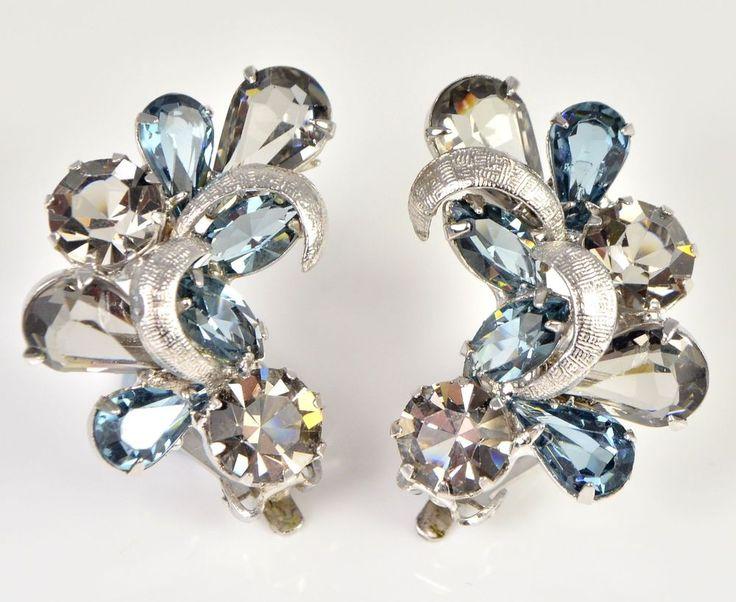 Vintage Earrings KRAMER 1950s Blue & Grey Silvertone Retro Bridal Jewellery #Kramer
