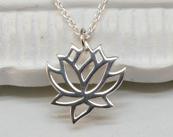 Silver Lotus Necklace, Sterling Silver, Blooming Flower, Yoga, Zen, Open Works, Buddhist, Graduation, Yoga Necklace.Yoga Jewelry. $26.00, via Etsy.
