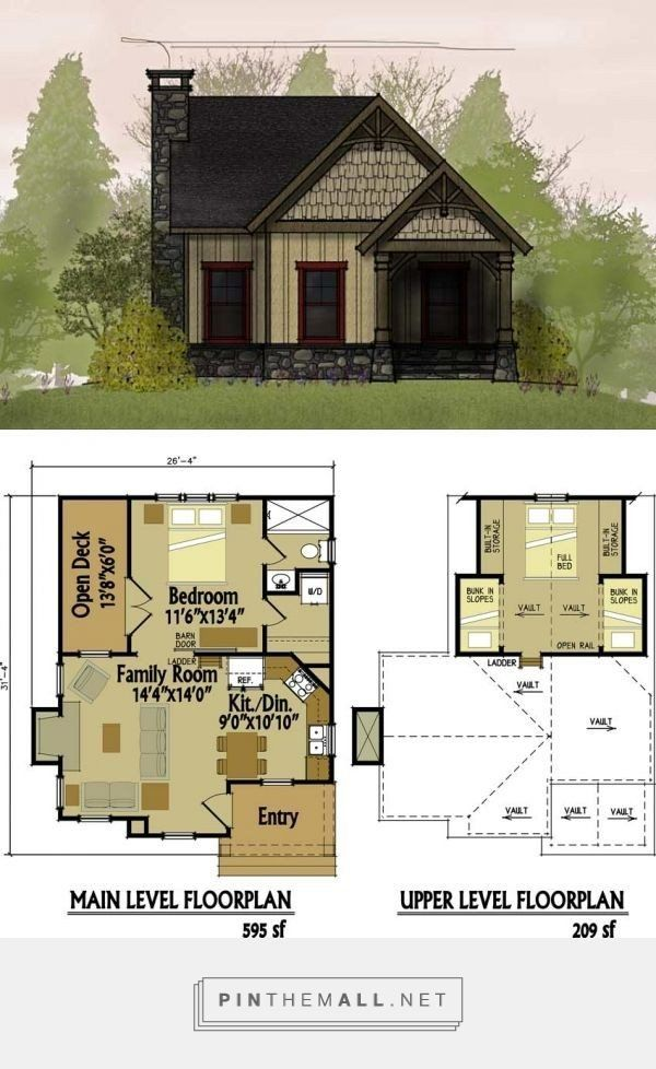 Best 25 Cabin Plans With Loft Ideas On Pinterest In 2020 Small Cottage House Plans Small Cottage Homes Cottage Floor Plans