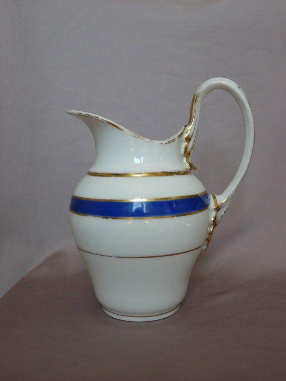 French Antique Vieux Paris Porcelain Milk Water Orange Juie Pitcher - Gold & Blue Bands - French Country Cottage - Cafe au Lait Dejeuner