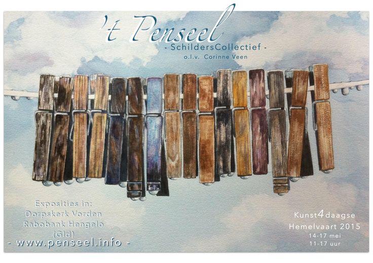 Thema Regen/ druppels, seizoen 2014-15, schildercursus Corinne Veen (schilderij van Joke van der Klink)
