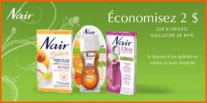 Économisez 2$ sur les produits Nair  Faites-vous plaisir avec des jambes douces et soyeuses à bon prix !  http://rienquedugratuit.ca/coupons/produits-epilation-nair/