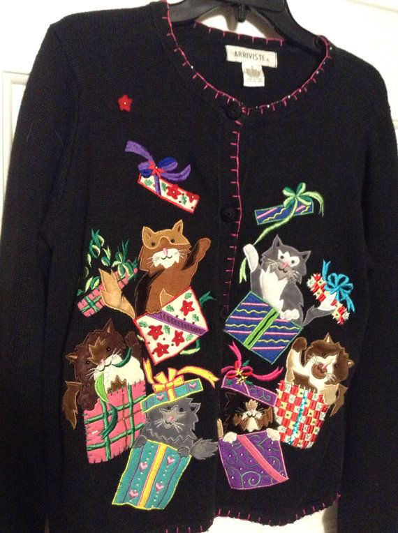 Cat Christmas Sweater Ugly Sweater or Cute Sweater Sz S on Etsy, $49.00