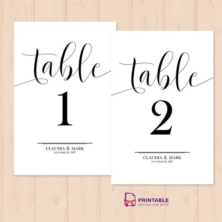 Table numbers free printable pdf template easy to edit for Table placement cards templates
