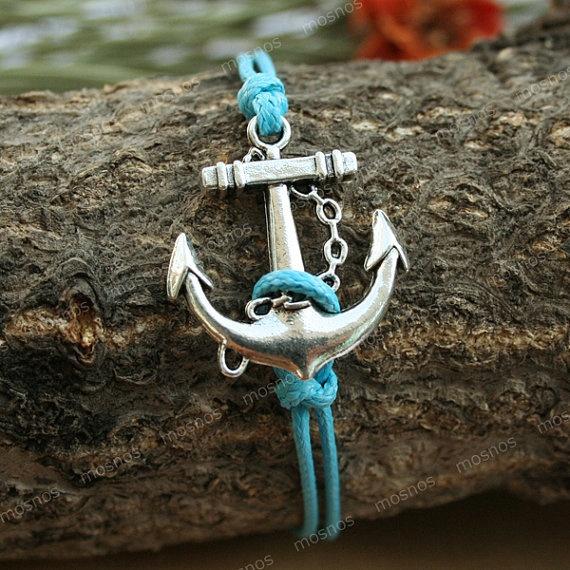 Anchor bracelet-adjustable turquoise anchor charm bracelet: Turquoise Blue, Anchors Bracelets, Braceletanchor Braceletvintag, Anchors Charms, Vintage Wardrobe, Turquoi Anchors, Charms Bracelets, Anchors Braceletadjust, Bracelets Adjustable Turquoi