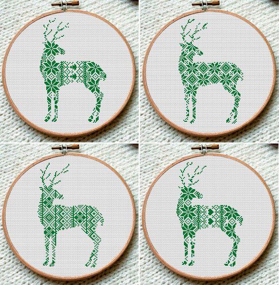 Winter Green Reindeer Cross Stitch Pattern by CrossStitchForYou