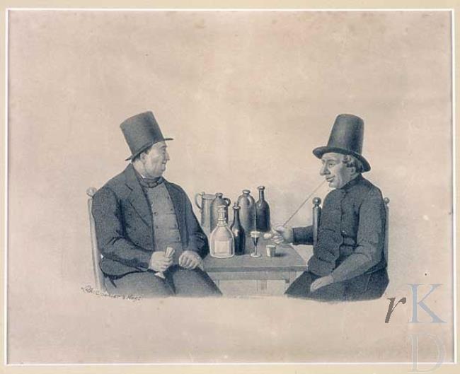 Elias Spanier Petrus van Waterschoot en Izaak van Dommellen (Sint-Annaland) 1850-1874 Twee mannen rokend en drinkend aan een tafel met daarop diverse flessen.Links: Hoge hoed, zwart pak, hooggesloten grijs vest, zwarte strikdas. Rechts: Hoge hoed, hooggesloten zwarte jas, in de rechterhand een pijp. #Zeeland #Tholen