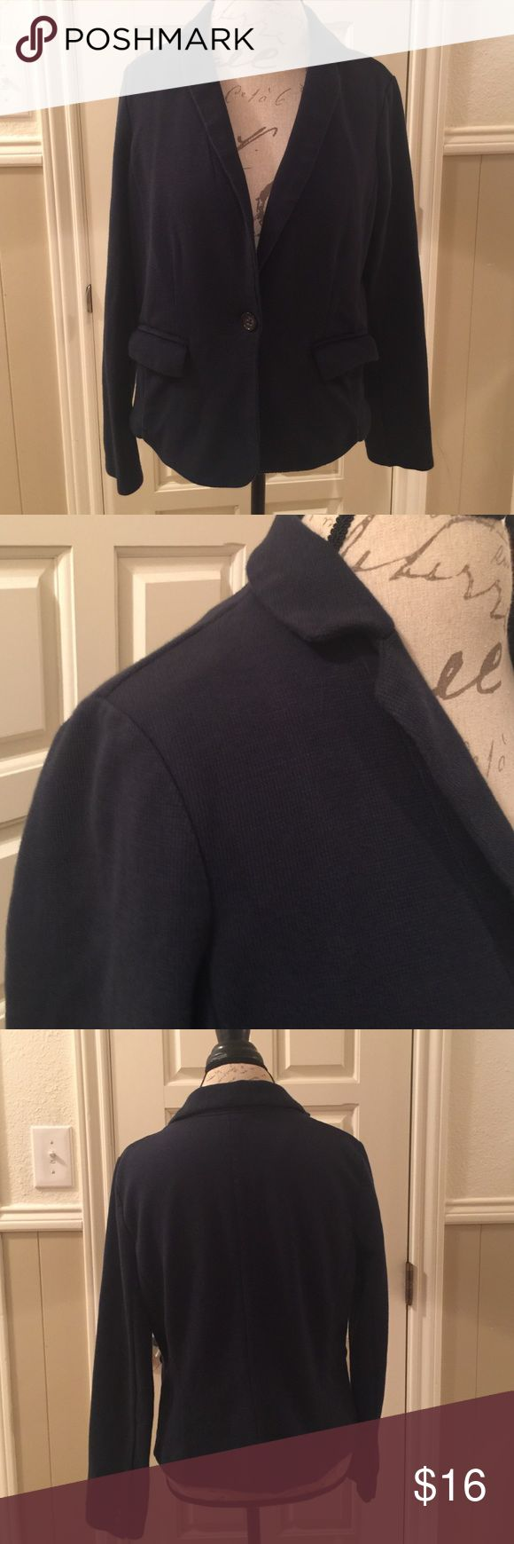 "Banana Republic Knit Blazer Sz large. Cute navy knit blazer. This will dress up any pair of jeans. 22"" from shoulder to hem. From Banana Republic. Banana Republic Jackets & Coats Blazers"