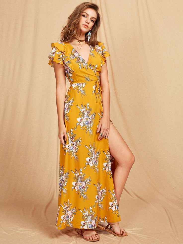 Yellow Wrap Self Tie Floral Print Criss Cross Back Maxi