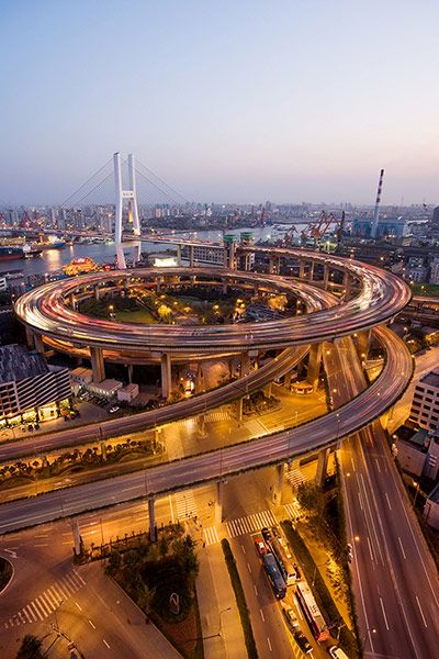 Credit: Alamy Nanpu Bridge, Shanghai1991Nanpu Bridge is mostly a large cable-stayed structure of a type that, whi...