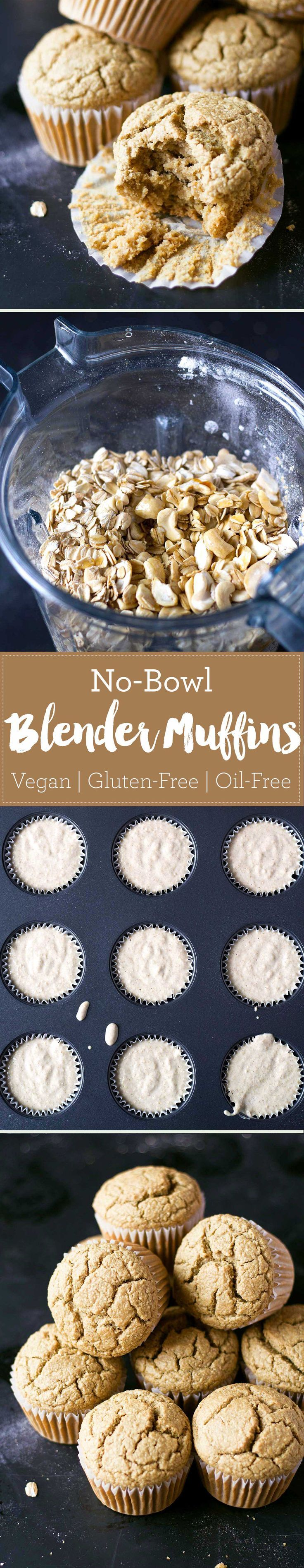 These vegan no-bowl blender muffins are healthy and so easy to make! Vegan, oil-free, gluten-free, and super soft! | eatwithinyourmean...