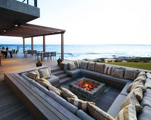 sitzmglichkeiten im freien outdoor pltze hinterhof sitz leben unter freiem himmel versunkene feuerstellen einrichten wohnen conversation pit - Versunkene Feuerstelle Designs