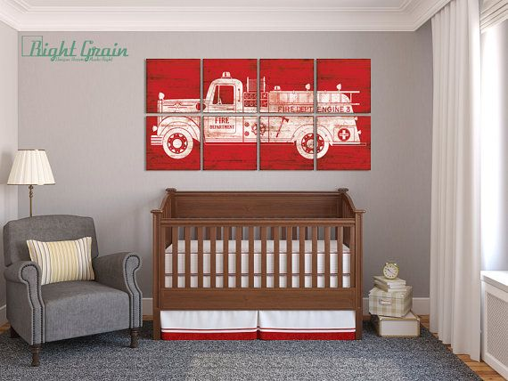 Large Custom Made Vintage Fire Truck Art Boys Room by RightGrain