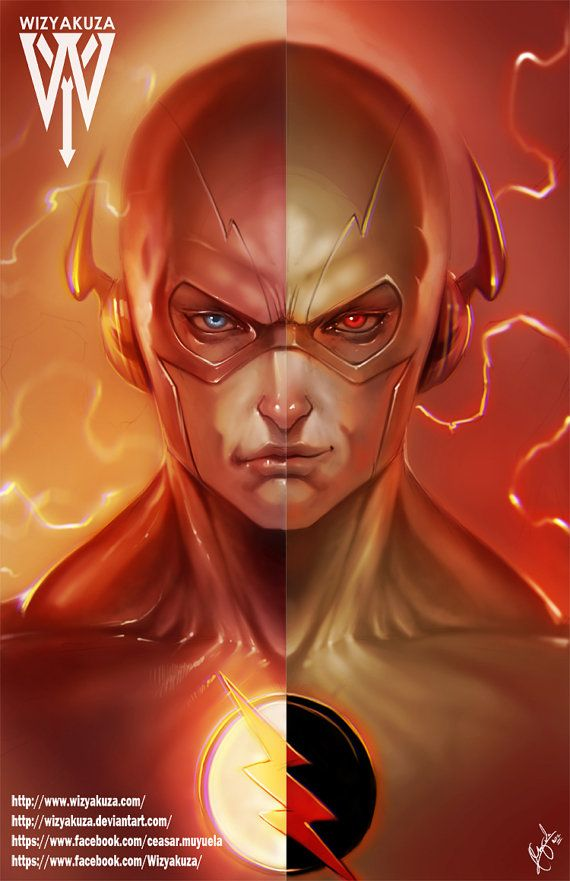 The Flash and Reverse Flash Split - DC Comics - The CW - 11 x 17 Digital Print