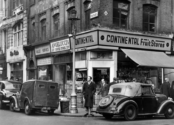 Frith St at the junction with Old Compton Stree, Soho, London 1955