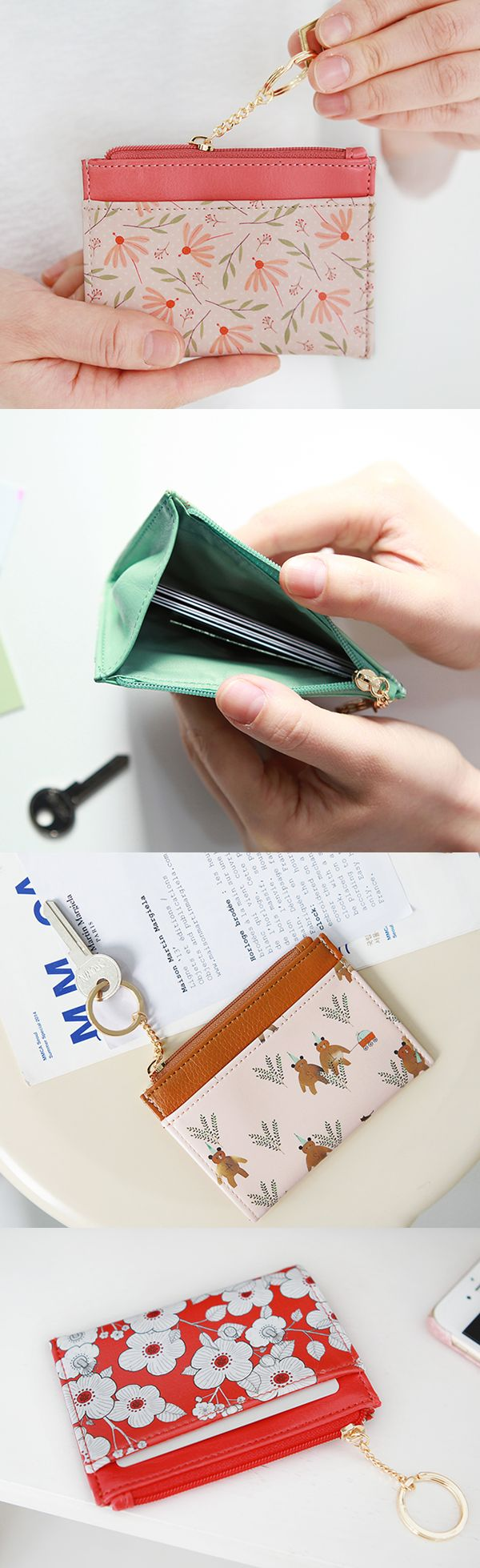 This cute Willow Pattern Key Ring Card Wallet is the easiest way to carry your must-haves when you're on the go! The outer pocket and zippered compartment with key ring are perfect for storing your cards, coins, and cash. It's a simple way to stay organized wherever you are, so check it out!