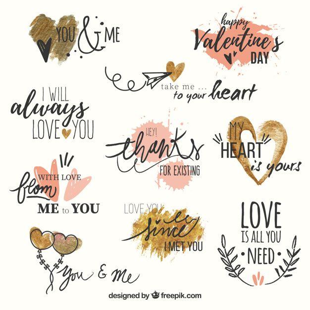 Ensemble de phrases d'amour avec des coeurs d'aquarelle Vecteur gratuit