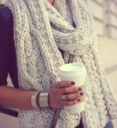 Oversized cosy scarf is a must have, a coffee to keep the hands warm during xmas never hurt either.