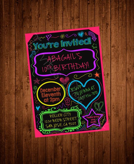 Neon Doodles Teen Tween Printable Birthday por InvitesDotTiff