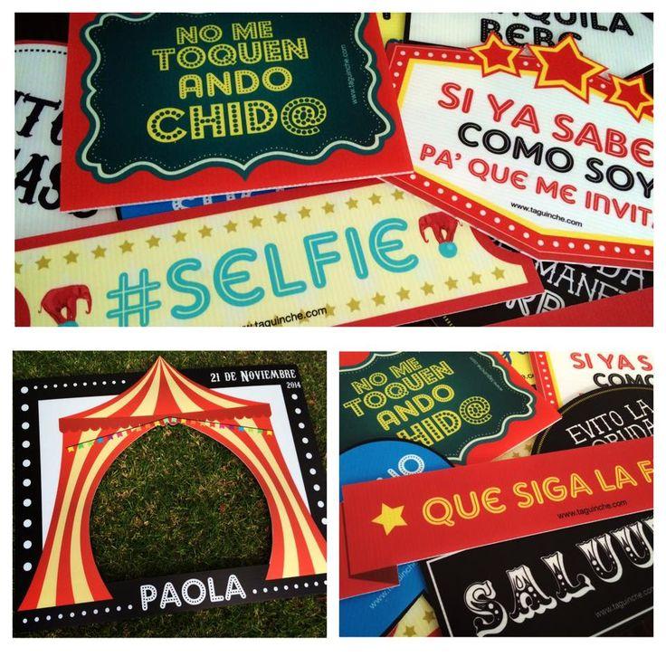 """Letreros para fiesta XV años """"El Circo"""" www.taguinche.com"""