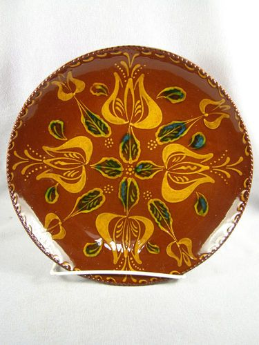 1990 C N Foltz Pottery Slip Decorated Redware Plate Hex Sign Tulips Cross | eBay
