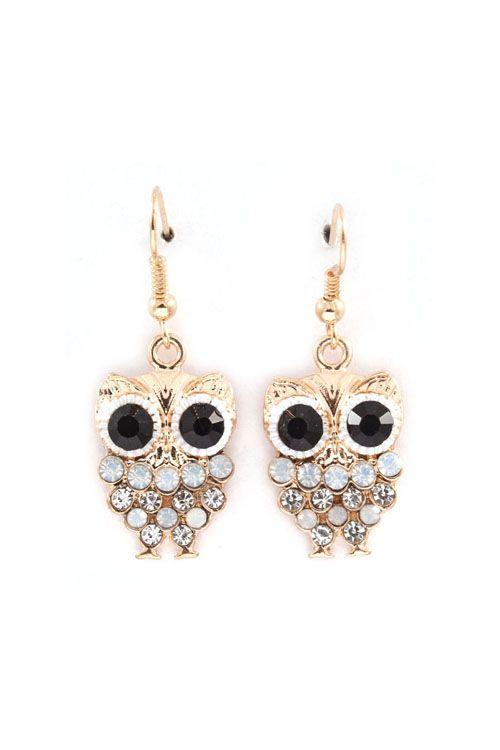 Owly Earrings in Aspen Blue Crystal