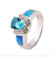 Trillion shaped Blue Sapphire & Inlayed Opal Silver Ring