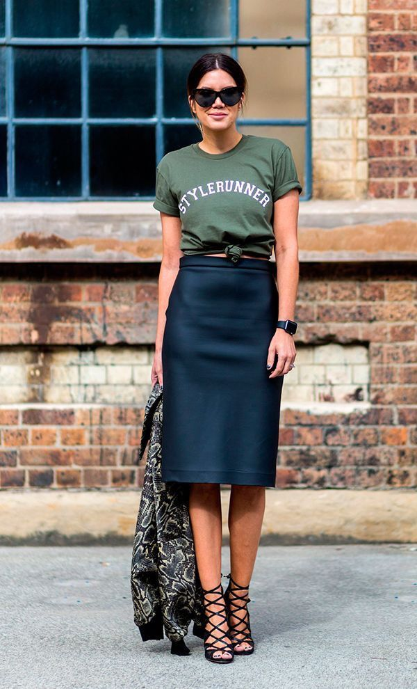 Dress down an elegant skirt with a graphic tee.