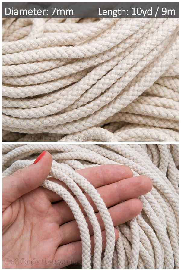 Ivory Cotton Rope 7mm Macrame Cotton Cord Braided Cord Etsy Cotton Rope Rope Diy Rope Basket