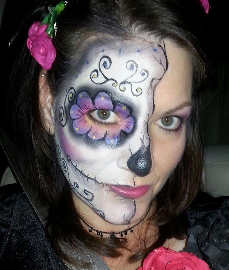 half sugar skull face paint for girls women - Skull Face Painting Ideas For Halloween