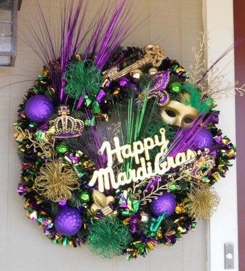 Mardi Gras Wreath Festive New Orleans Door by TheJourneyAccents