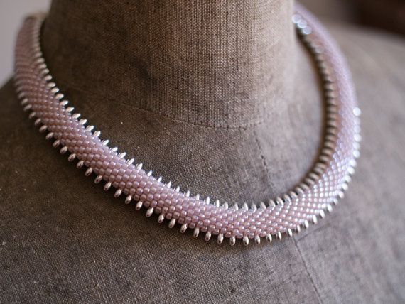Powder Pink and Silver Snake Necklace Spiky Snake Rope